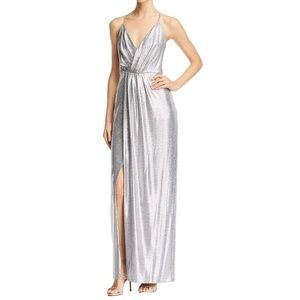 Laundry by Shelli Segal Metallic Gown Silver 6